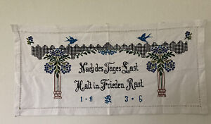 Vintage 1936 Wall Hanging Embroidery German
