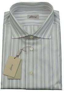 Brioni Mens H/S Grey Stripe Cotton Handmade Shirt BNWT SZ XL / EU 42 - UK 16.5