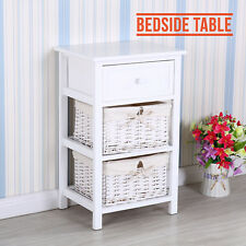 Wooden Bedside Table Cabinet With 1 Drawer & 2 Wicker Baskets Bedroom White