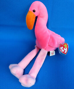 """PINK FLAMINGO pink plush 10"""" tall SOFT TOY TY BEANIE BABIES * VINTAGE 1995 * NEW"""