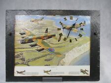 Handmade Large Slate Clock With WW2 War Planes Picture Battery Operated