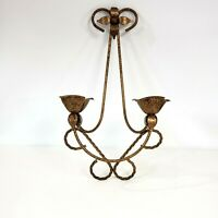 Scroll Floral Pattern Candle Sconce Holder 2 Taper Wall Mount Metal Bronze Blk