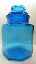 VINTAGE BLUE GLASS CANISTER CHEMIST PHARMACY BOTTLE JAR LABORATORY