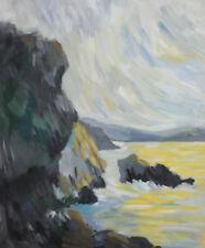Vintage gouache painting post impressionist seascape