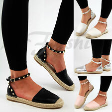 New Womens Flat Espadrilles Ankle Studded Strap Summer Holiday Sandals Shoes