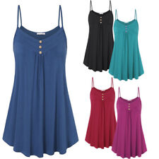 Plus New Womens Ladies Sexy Plain Sleeveless Strappy Buttons Cami Vest Tank Top
