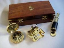 Sextant, Teleskop + Brunton Kompass incl. Holzbox