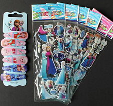 6 Frozen Anna Elsa Olaf Stickers & 6 Hair Clips Party Favours