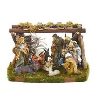 "Kurt Adler Nativity Set With 8 2-3.25"" Figs+4.5X7"" Stable"