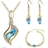 Fashion Women Crystal Necklace Earrings Bracelet Wedding Bridal Jewelry Set Gift