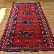 Red Shabby Chic Handmade Vintage Traditional Oriental Wool Rug 150 X 78cm