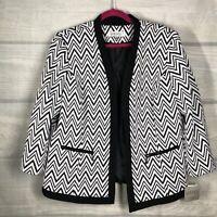 Kasper NWT 14W dressy jacket black and white Zig ZAG Knit FlyAway MSRP$139