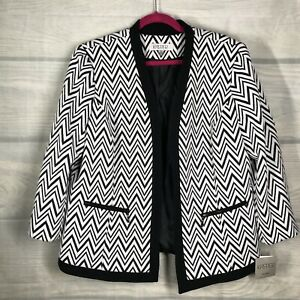 Kasper Plus Size 14W dressy jacket black and white Zig ZAG Knit FlyAway MSRP$139