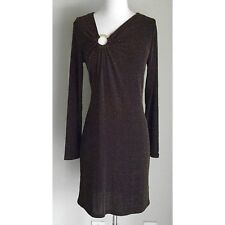 MICHAEL KORS Metallic Brown & Gold Long-Sleeve Stretch Cocktail Dress- Medium, M