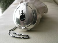 Antique STERLING Silver Black Enamel Woman Watch Fob Bar Chain Compact 1922