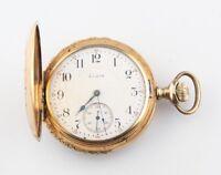 Elgin 14k Multi-color Gold 17-Jewel Antique Pocket Watch Size 16s Full Hunter
