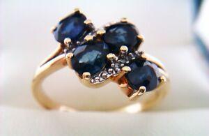 Beautiful 9ct Gold Sapphire & Diamond Ladies Ring 2019