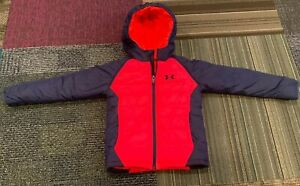 Boys Under Armour Insulated Hooded Parka Jacket Size 6 Blue Infared