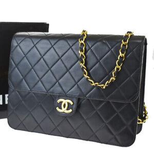 Authentic CHANEL CC Matelasse Double Flap Chain Shoulder Bag Leather BN 679R416