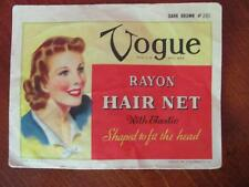Vintage 1940s Vogue Rayon Hair Net (Included) Dark Brown Great Graphics