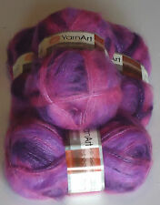CRAZY MOHAIR by YARNART a 70% MOHAIR KNITTING WOOL  in PINKS & PURPLES 400g