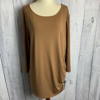 Chicos Womans Pullover Top Blouse Size 3  XL Lace up Side Brown 3/4 Sleeves