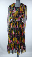 Vintage Maggie's Floral Watercolour Print Chiffon Fit Flare Dress Pleated UK 12