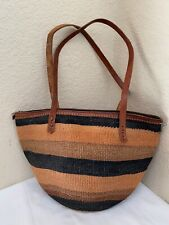 Handmade Multicolor Straw Zip Top Brown Leather Trim Tote Shoulder Handbag