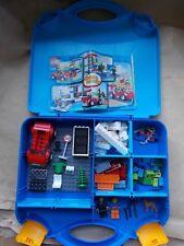 LEGO JUNIORS BLUE SUITCASE SET 10659 BLUE CARRYCASE 2 MINIFIGS DOG CAR GARAGE