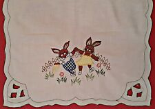 VINTAGE EASTER ART RABBITS CUT EMBROIDERY WHITE COTTON TABLE RUNNER SIZE:17 x 34