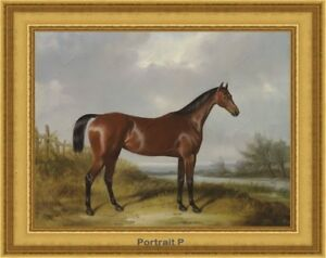 Old Master Art Animal Oil Painting Brown Horse Bay Hunter in Landscape 30x40