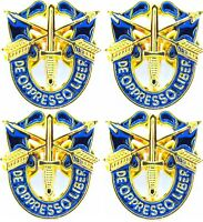 """4 X SPECIAL FORCES CREST SF Hat 1"""" Pin DE OPPRESSO LIBER GOLD"""