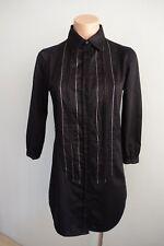 A/X Armani Exchange 3/4 Sleeve Silver thread & Zip Trim Black Tunic Top sz S
