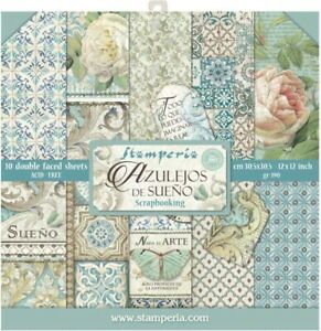 """Stamperia Double-Sided Paper Pad 12""""X12"""" 10/Pkg-Azulejos"""