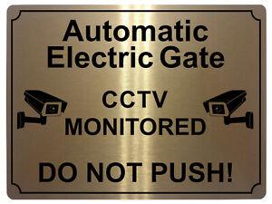 423 ELECTRIC GATE CCTV MONITORED Metal Aluminium Plaque Sign Door House Office