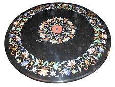 """24"""" Marble Black Side Table Top Rare Inlaid Mosaic Floral Work Arts Decor H2886"""