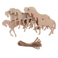 10 Stück Pferd Form Holz Holz Tags Hängende Dekoration Ornament mit Schnur