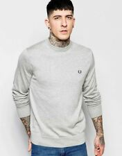 Fred Perry Classic Crew Neck Jumper Sweater - Grey - Small Medium Large XL XXL