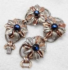 Vtg 1940's Kreisler Sterling & Rose Gold Wash Wide Floral Cabochon Bracelet