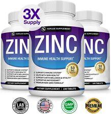 PREMIUM Zinc Complex 50 MG, THREE BOTTLES - Immune System Booster & Support