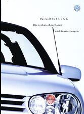 1998 VW Volkswagen Golf Cabriolet 24-page German Car Brochure Prospekt