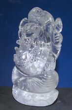 "Clear Quartz Ganesha (#09) - 4.5"" tall Carved by Hand - Natural Himalayan Quartz"