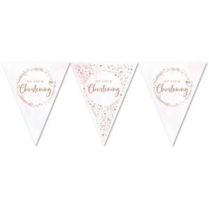 Pink Christening Flag Bunting Banner Rose Gold Foil Finish 3.7 metres
