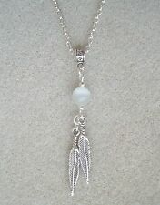 """Dangly Feathers and White Catseye Bead 20"""" Chain Necklace in Gift Bag"""
