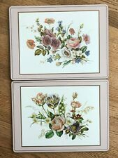 """Lot of 2 Pimpernel Floral Flowers Place Mats 11.5""""x15.5"""" Cork Backed Pink Border"""