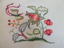 Large Needlepoint Stitching Completed Jacobean Floral Center Bird Petitpoint