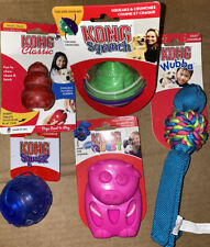 NEW LOT OF 5 KONG Dog Toys! Sqrunch Squeezz Ball Quest Wubba Classic Treat Stuff