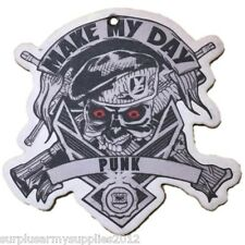 CAR AIR FRESHENER BESPOKE DESIGNED MAKE MY DAY PUNK GOTHIC SKULL MARINE ARMY