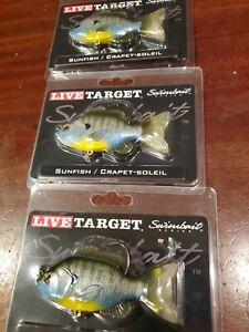 "Live Target 5/"" RUDD 1 3//8oz Swimbait Metallic Gold *LOT OF 3 LURES*"