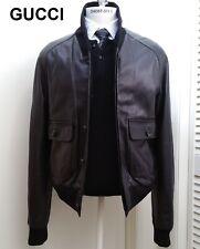 New GUCCI leather jacket shawl neck bomber black coat classic rare L 40 50 NWT